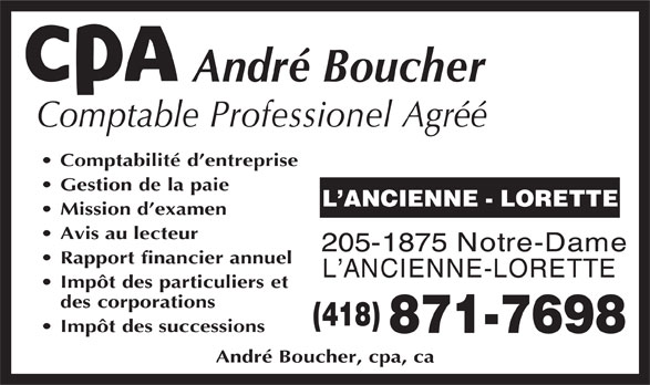 Boucher André Comptable Agréé (418-871-7698) - Display Ad -