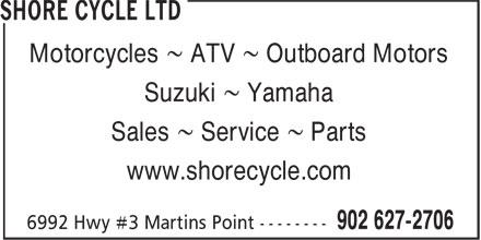 Shore Cycle Ltd (902-627-2706) - Display Ad - Motorcycles ~ ATV ~ Outboard Motors Suzuki ~ Yamaha Sales ~ Service ~ Parts www.shorecycle.com