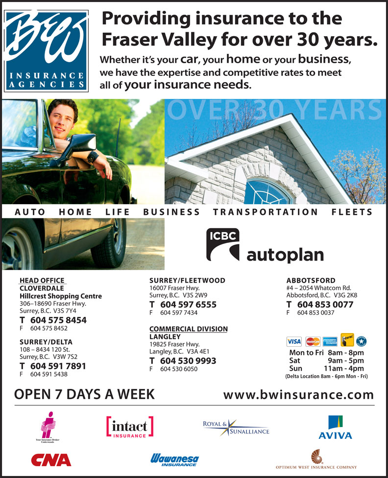 B & W Insurance Agencies (604-591-7891) - Annonce illustrée======= - V3S 7Y4 (Delta Location 8am - 6pm Mon - Fri)
