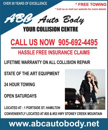 A B C Auto Body (905-692-4495) - Display Ad -