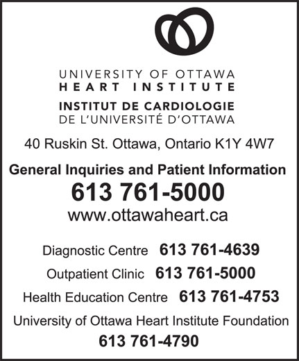 University of Ottawa Heart Institute (613-761-5000) - Display Ad - UNIVERSITY OF OTTAWA HEART INSTITUTE INSTITUT DE CARDIOLOGIE DE L UNIVERSITÉ D OTTAWA