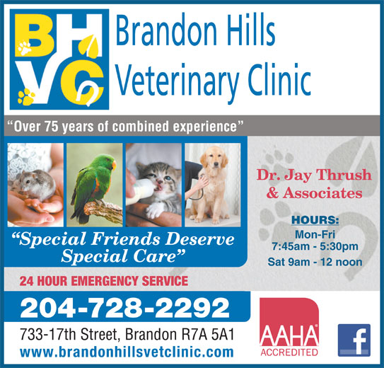 Brandon Hills Veterinary Clinic (204-728-2292) - Annonce illustrée======= - Over 75 years of combined experience Dr. Jay Thrush & Associates HOURS: Mon-Fri Special Friends Deserve 7:45am - 5:30pm Special Care Sat 9am - 12 noon 24 HOUR EMERGENCY SERVICE 204-728-2292 733-17th Street, Brandon R7A 5A1 www.brandonhillsvetclinic.com Veterinary Clinic Brandon Hills