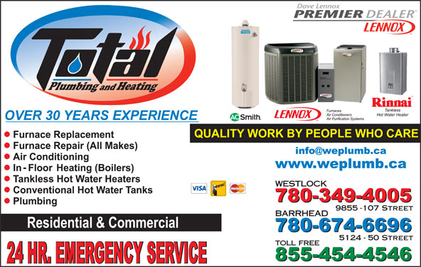 Total Plumbing & Heating (780-349-4005) - Display Ad - Plumbing Heating and WESTLOCK 9855 -107 Street BARRHEAD 5124 - 50 Street toll free