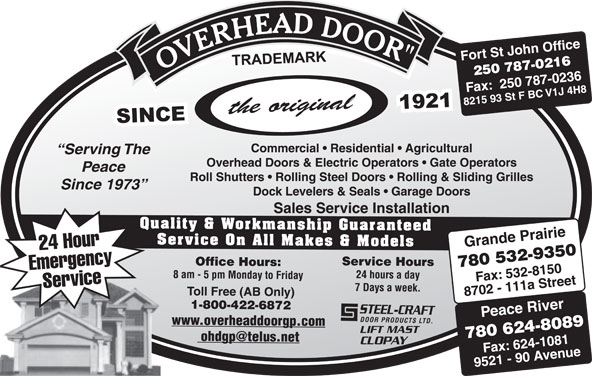 Overhead Door Co Of Grande Prairie (1979) Ltd (780-532-9350) - Annonce illustrée======= -