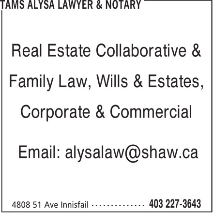 Tams Alysa Lawyer & Notary (403-227-3643) - Display Ad - Real Estate Collaborative & Family Law, Wills & Estates, Corporate & Commercial