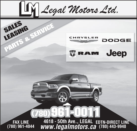 Legal Motors Ltd (780-961-3660) - Display Ad - (780) 961-0011 FAX LINE EDTN-DIRECT LINE (780) 961-4044 (780) 443-9940
