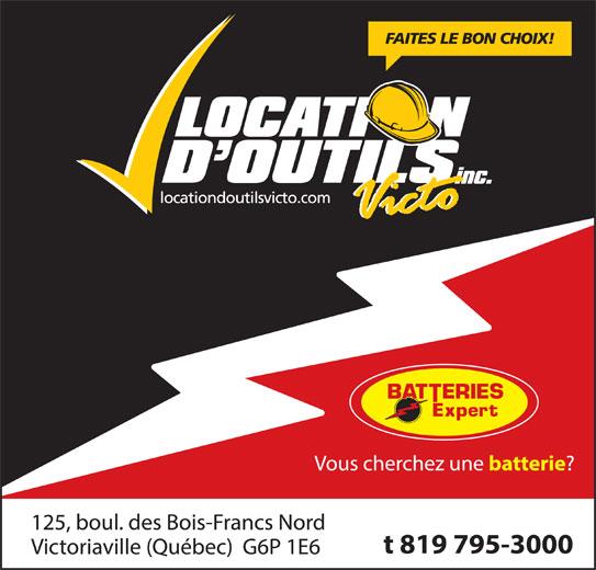 Location D'Outils Victo Inc (819-795-3000) - Annonce illustrée======= -