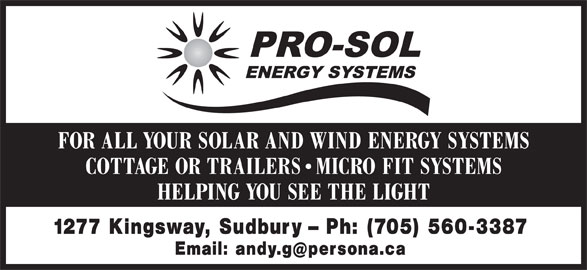 Pro-Sol Energy Systems (705-560-3387) - Display Ad -