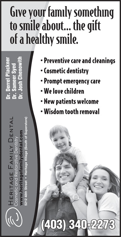 Heritage Family Dental (403-340-2273) - Display Ad - .heritagefamilydental.com ww (403) 340-2273