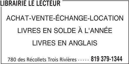 Librairie Le Lecteur (819-379-1344) - Annonce illustrée======= - LIBRAIRIE LE LECTEUR ACHAT-VENTE-ÉCHANGE-LOCATION LIVRES EN SOLDE À L'ANNÉE LIVRES EN ANGLAIS 819 379-1344 780 des Récollets Trois Rivières -----