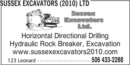 Sussex Excavators (2010) Ltd (506-433-2288) - Annonce illustrée======= -