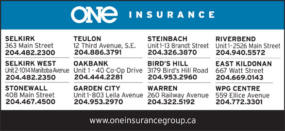 One Insurance-Selkirk (204-482-2300) - Display Ad -