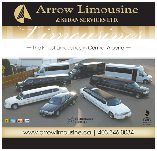 Arrow Limousine & Sedan Services Ltd (403-346-0034) - Display Ad - The Finest Limousines in Central Alberta RED DEER CHAMBER of COMMERCE www.arrowlimousine.ca 403.346.0034