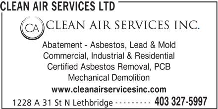 Clean Air Services Inc (403-327-5997) - Annonce illustrée======= -