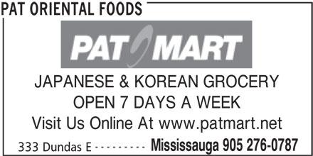 Pat Oriental Foods (905-276-0787) - Annonce illustrée======= -