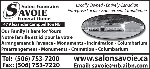 Savoie Funeral Home Campbellton Nb