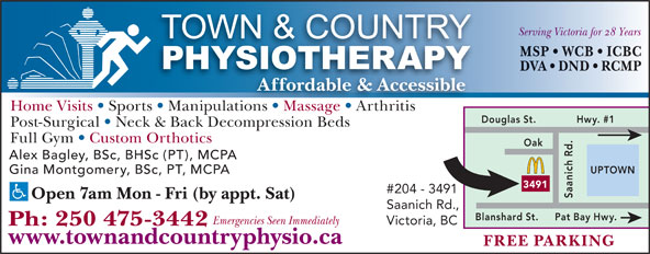 Town & Country Physiotherapy (250-475-3442) - Display Ad -