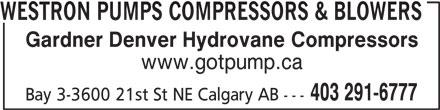 Westron Pumps Compressors & Blowers (403-291-6777) - Annonce illustrée======= -