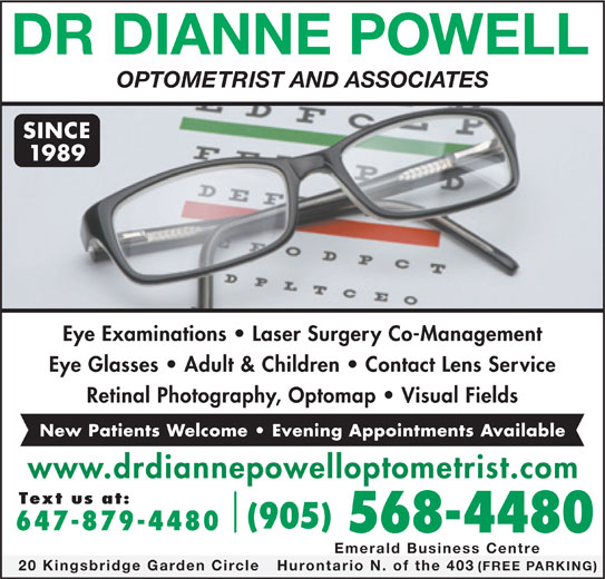 Dr dianne powell 905 568 4480 display ad optometrist and
