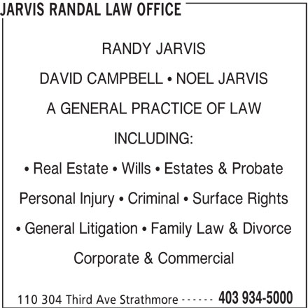 Jarvis Randal Law Office (403-934-5000) - Display Ad -