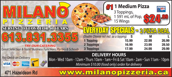 Milano Pizza (613-831-3355) - Display Ad -