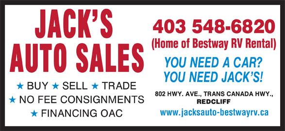 Jack's Auto Sales (403-548-6820) - Display Ad - www.jacksauto-bestwayrv.ca 403 548-6820 (Home of Bestway RV Rental)