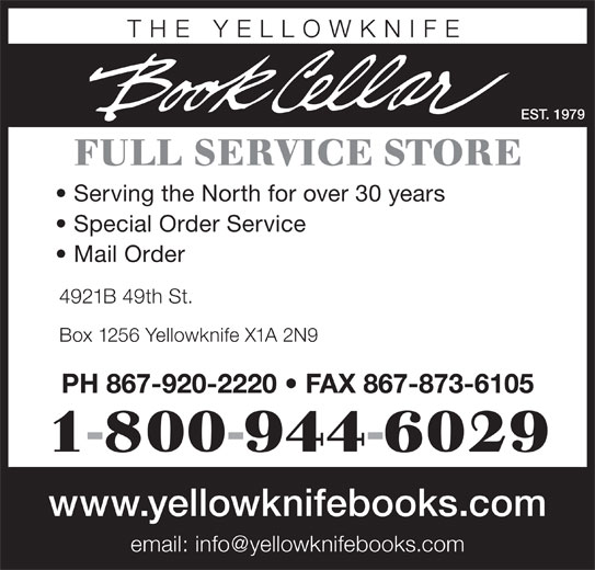 Yellowknife Book Cellar (The) (867-920-2220) - Annonce illustrée======= -