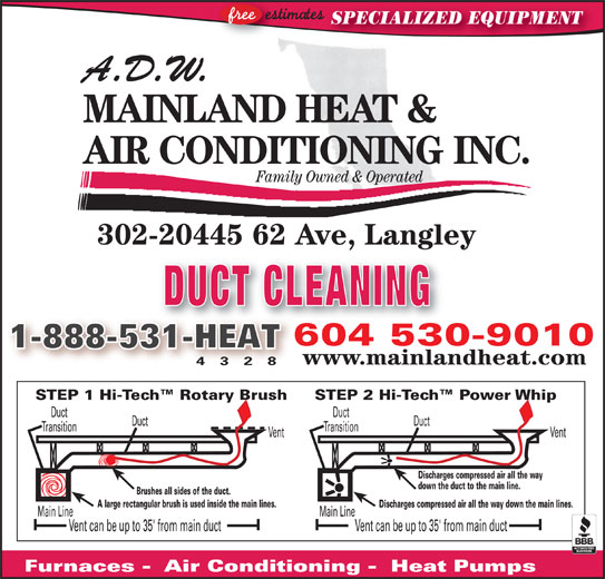 ADW Mainland Heat and Air Conditioning (604-530-9010) - Display Ad - SPECIALIZED EQUIPMENT A.D.W. MAINLAND HEAT & AIR CONDITIONING INC. Family Owned & Operated 302-20445 62 Ave, Langley, gy DUCT CLEANING 604 530-9010604530 1-888-531-HEAT31-HEAT www.mainlandheat.com 4 3 2 8 STEP 2 Hi-Tech  Power WhipSTEP 1 Hi-Tech  Rotary Brush DuctDuct TransitionTransition VentVent Discharges compressed air all the way down the duct to the main line. !!!!!!!! Brushes all sides of the duct. A large rectangular brush is used inside the main lines. Discharges compressed air all the way down the main lines. Main LineMain Line Vent can be up to 35' from main ductVent can be up to 35' from main duct Furnaces -  Air Conditioning -  Heat Pumps