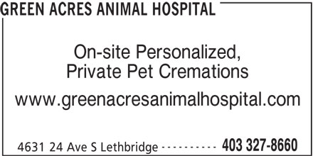 Green Acres Animal Hospital (403-327-8660) - Display Ad -