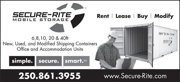 Secure-Rite Mobile Storage (250-861-3955) - Display Ad -