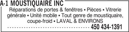 A 1 moustiquaire inc 509a rue papineau boisbriand qc for Reparation fenetre quebec