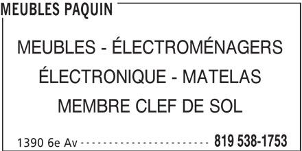 Ameublement BrandSource Paquin (819-538-1753) - Annonce illustrée======= -