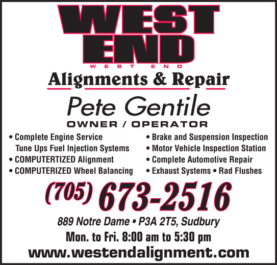 West End Alignment Auto Repair 889 Notre Dame Sudbury On