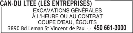 Entreprises Can-Du Ltée (Les) (450-661-3000) - Annonce illustrée======= -