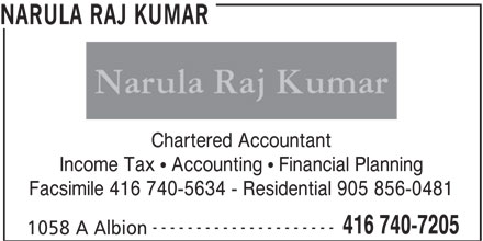 Narula Raj Kumar (416-740-7205) - Display Ad - Chartered Accountant Income Tax   Accounting   Financial Planning Facsimile 416 740-5634 - Residential 905 856-0481 --------------------- 416 740-7205 1058 A Albion NARULA RAJ KUMAR