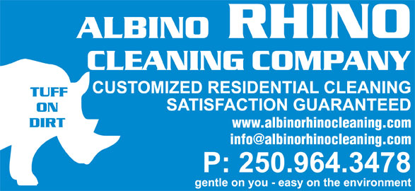 Albino Rhino Cleaning Co (250-964-3478) - Display Ad - www.albinorhinocleaning.com