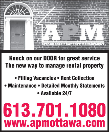 Affordable Property Management (613-842-8100) - Display Ad -