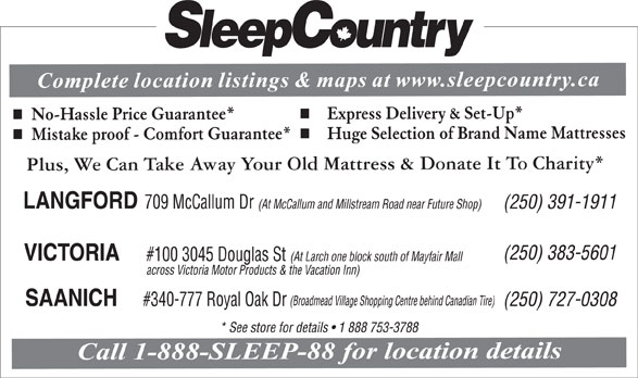 Sleep Country (250-383-5601) - Display Ad -