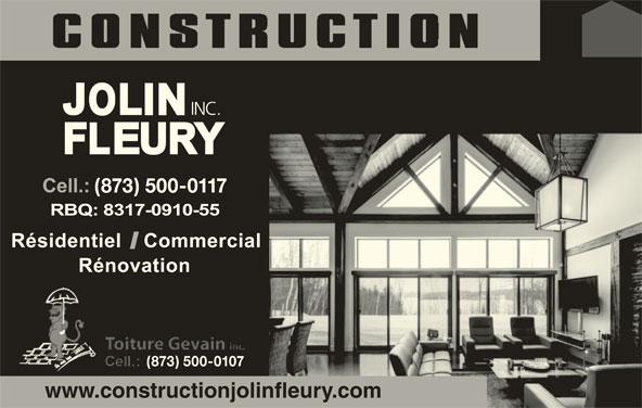 Construction Jolin Fleury Inc (819-570-7657) - Annonce illustrée======= - INC. (873) 500-0117 (873) 500-0107