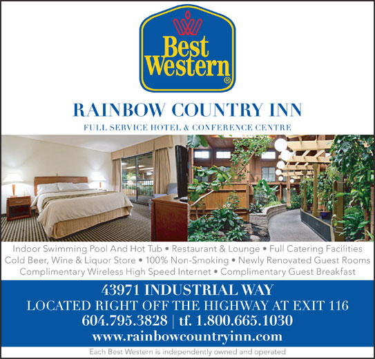 Best Western (1-877-772-3297) - Annonce illustrée======= - Indoor Swimming Pool And Hot Tub   Restaurant & Lounge   Full Catering Facilities Cold Beer, Wine & Liquor Store   100% Non-Smoking   Newly Renovated Guest Rooms Complimentary Wireless High Speed Internet   Complimentary Guest Breakfast Each Best Western is independently owned and operated