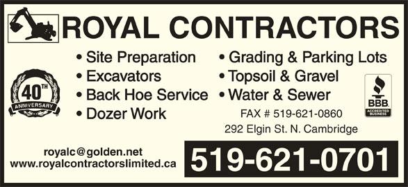Royal Contractors Limited (519-621-0701) - Annonce illustrée======= -