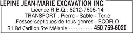 Lépine Jean-Marie Excavation Inc (450-759-6020) - Annonce illustrée======= -