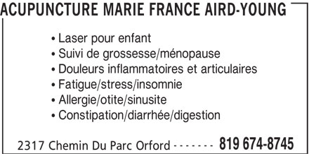 Acupuncture Marie France Aird-Young - 2317, ch du parc