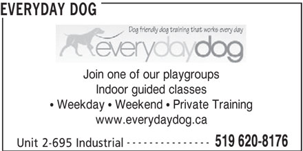Everyday Dog (519-620-8176) - Display Ad - Join one of our playgroups Indoor guided classes EVERYDAY DOG  Weekday  Weekend  Private Training www.everydaydog.ca --------------- 519 620-8176 Unit 2-695 Industrial