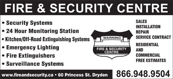 Fire & Security Centre 1 855 766 5942 Display Ad