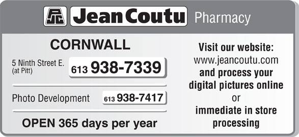 Jean Coutu Paul Trottier (Affiliated Pharmacy) (613-938-7339) - Display Ad -
