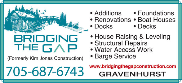 Bridging the gap construction gravenhurst on 275 for Garage ad gap