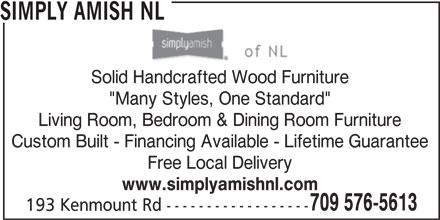 Simply Amish NL (709-576-5613) - Annonce illustrée======= -