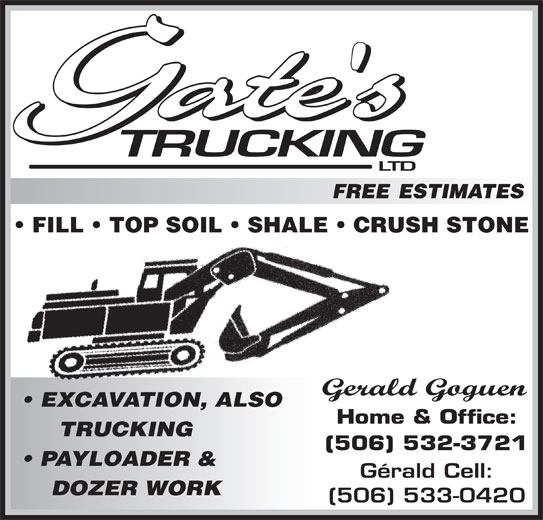 Gates Trucking Ltd (506-533-0420) - Annonce illustrée======= -