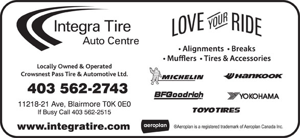 Integra Tire (403-562-2743) - Display Ad -